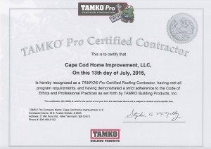 TAMKO Pro certification Roofing and Siding on Cape Cod