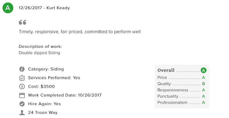 screenshot of customer review on Angie's List
